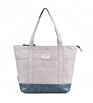 HotStyle AMY Large Canvas Zip Boat Everyday Shopping Travel School Bookbag Handbag Shoulder ToteBag Built-in Laptop Sleeve Fits 12-inches Tablet HT908