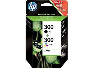 HP 300 - Cartucho de tinta original, negro, cian, magenta, amarillo (pack de 2)
