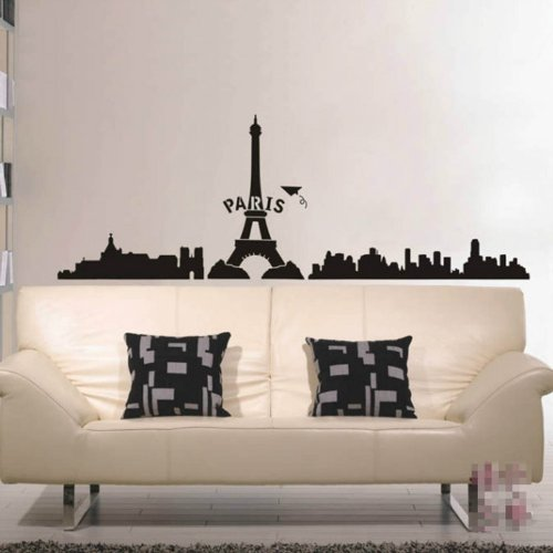 Paris Eiffel Tower City Wall Sticker Decal Home Decor For Living Bed Room Study Studio Bar, Black