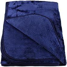 Gözze, couverture polaire/couvre-lit XXL, sensation cachemire brevetée, microfibre, 220x240 cm, bleu marine, lavable, toucher sensationnel, chaleur, douceur et moelleux, confort assuré pour vos nuits bien au chaud !