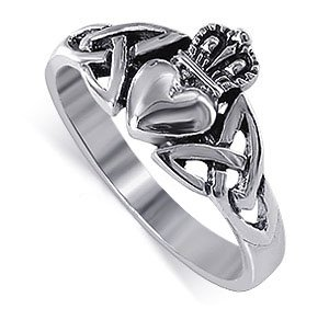 LWRS043-7 Nickel Free Sterling Silver Irish Claddagh Friendship and Love Band Polished Finish Ring Size 7