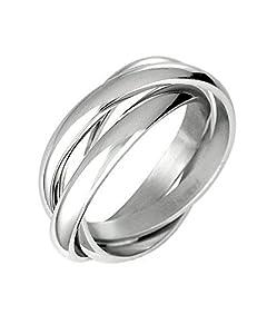 Triple Russian Interlocked Stainless Steel Men Unisex Wedding Band Rings Size 5