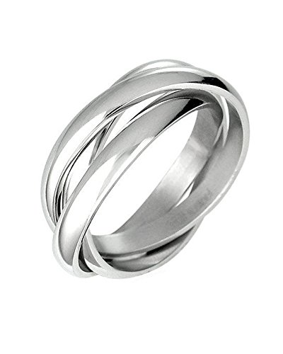 Triple Russian Interlocked Stainless Steel Men Unisex Wedding Band Rings size 12 (Interlocking Rings compare prices)