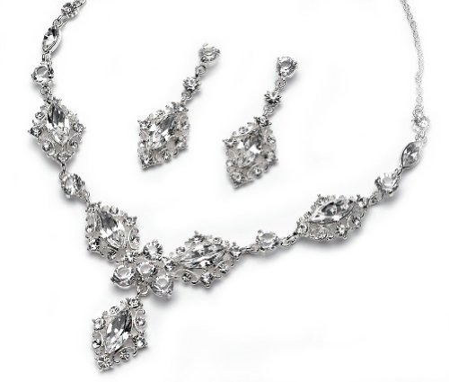 Silver Wedding Jewelry, Bridal Necklace & Earrings with Crystal Swirl Design 618 S