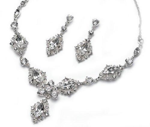 USBride-Silver-Tone-Vintage-Rhinestone-Necklace-Earrings-Bridal-Jewelry-Set-618