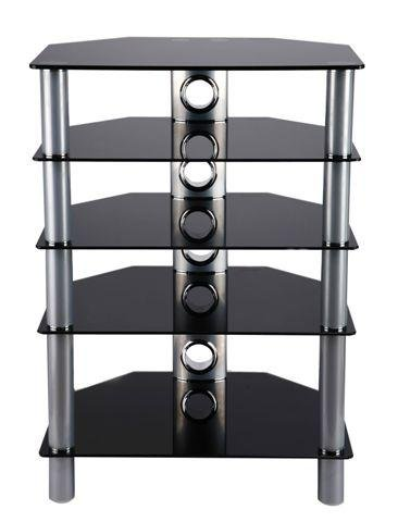 BLACK GLASS Hi Fi STAND WITH SILVER LEGS