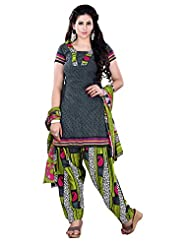 Prafful Black Beautiful Cotton Printed Unstitched Salwar Suit Material