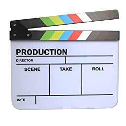 Andoer® Acrylic Plastic Clapperboard TV Movie Film Cut/Action Clapper Board Slate Multi-color
