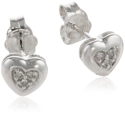 10k White Gold Diamond Heart Earrings (.04 cttw, I-J Color, I2-I3 Clarity)