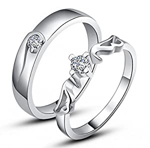 Unendlich U schön Engel Flügel mit 925 Sterling Silber und Cubic Zirconia für Hochzeits-Band/Jahrestag/Engagement/Versprechen Paare/Liebhaber Rings -Herren/Damen Optionen, Ring Größe 49 (15.6) (Enable to Engrave Your Own Words)