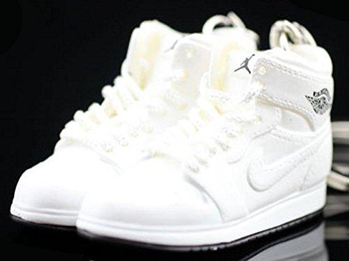 Air Jordan I 1 Retro High All White OG Sneakers Shoes 3D Keychain Figure