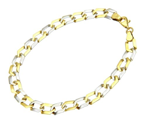 9ct Yellow and White Gold Flat Link Bracelet of 19cm