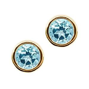 Carlo Bianca Ice Blue 14K Yellow Gold Earrings Made With Swarovski Topaz