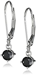 14k White Gold Black Diamond Earrings (5/8 cttw)