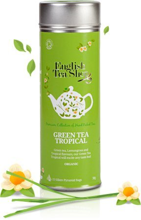 English Tea Shop - Green Tea Tropical - 15 Pyramid Infusers - 30G (Case Of 6)