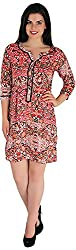 Holidae Women's Abstract Print Blouson Dress (hi-dr-md-121_XL, Multicolour, XL)