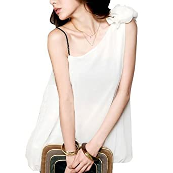 Allegra K Woman White Pleated Slanting Shoulder Chiffon Bubble Hem Blouse S