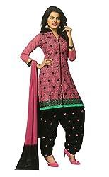 SGC Pink & Black Cotton Embroidery unstitched churidar Patiyala (NKT-5107)
