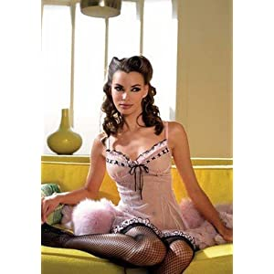 2PC Mesh Chemise Sexy Lingerie Intimate Apparel with Ruffle Trim Woven Lace Up and G-String
