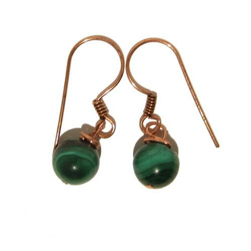 Malachite Earrings 03 Dangle 8mm Green Copper Gemstone Reiki Healing Crystal Orb