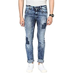 Turtle Men's Blue Low Rise Slim Fit Jeans With Distressed Look