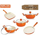 NIRLON 4 Layer Ceramic Non-stick Induction Cookware 5 Pieces Combo Set (Dosa Tawa, 2 Deep Kadhai 2 Liter & 3 Liter, Grill Pan, Deep Casserole 3.6 Liter) Orange Colour