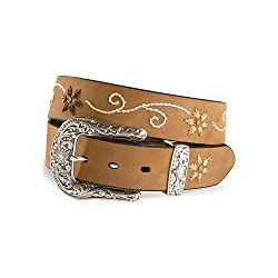 Nocona Women's Floral Stitched Leather Belt Plus Brown 46
