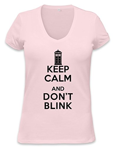 Keep Calm And Don't Blink Womens V-neck T-shirt Small