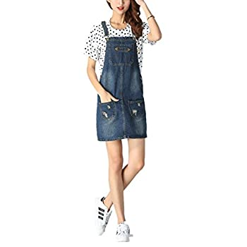 Skirt BL Women's Blue Vintage High Waist Suspender Denim Overall Mini Jean Dres