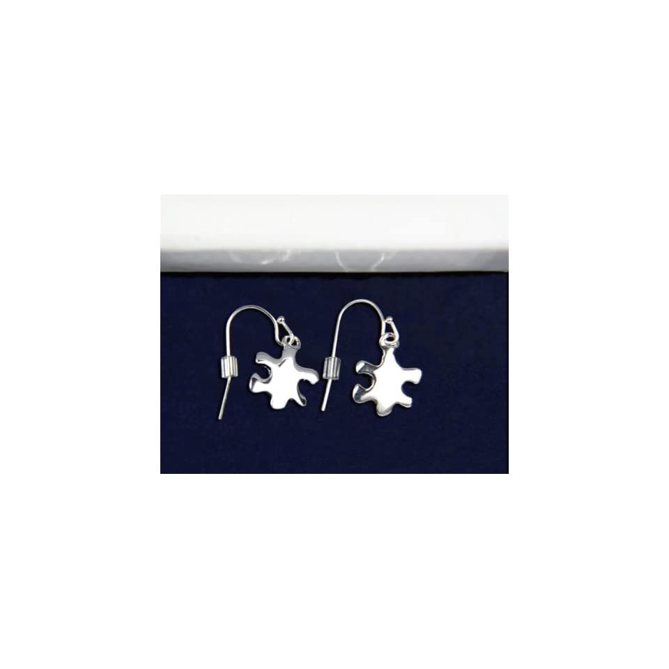 Silver Autism Puzzle Piece Earrings (18 Pairs)