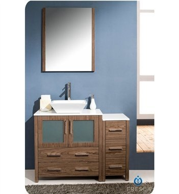 "Torino 42"" Modern Bathroom Vanity Set With Side Cabinet And Vessel Sink front-971470"