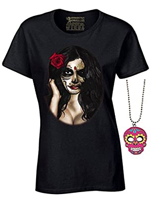 Women's Sugar Skull Girl Tshirt Day of the Dead Halloween Shirt + Skull Necklace