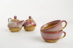 Caffeine Ceramic Handmade Pink Crackled 2 in 1 Teapot with Cup (Set of 2)
