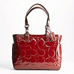 Coach Embossed Signature Patent Leather East West Gallery Business Tote Bag Handbag Crimson Red