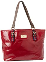 Hot Sale Tommy Hilfiger Stitch Patent Tote,Red,One Size
