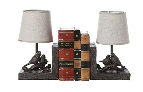 Set of 2 Rustic Birds on Branch Bookend Lamps w/ Shades -10.5