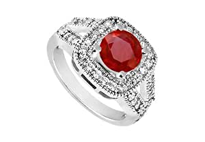 Ruby and Diamond Engagement Ring 14K White Gold 1.50 CT TGW