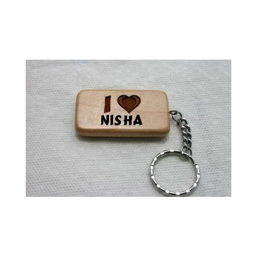 Amazon.com: Wooden keychain with I Love Nisha (first name/surname