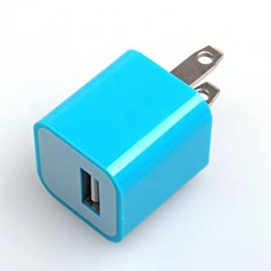 Blue USB Power Adapter Wall Charger For iPhone 4 iPod