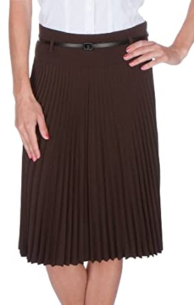 FV3543 Knee Length Pleated A-Line Skirt with Skinny Belt - Brown / S
