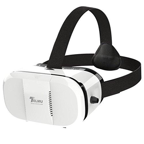 Telmu 3D VR lunettes de réalité virtuelle Casque Focal Portable et Elève Distance Lunettes réglables pour des films en 3D et jeux pour iPhone 6s / 6 plus / 6 / 5s / 5c / 5 Samsung et d'autres smartphones(Blanc)