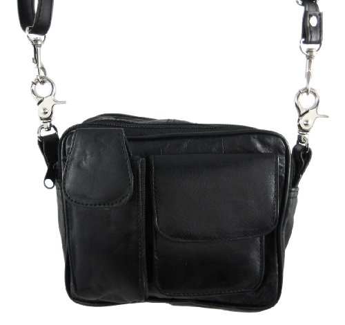 Black Nappa Leather Biker Purse Shoulder Bag Carry Bag