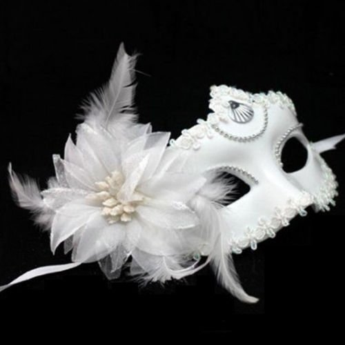 [Estone Venetian Eye Mask with Flower Feather for Masquerade Ball Halloween Carnival Party] (White And Black Swan Halloween Costumes)