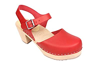 Lotta From Stockholm Torpatoffeln Swedish Clogs : Highwood Mary Jane Style in Red Leather 5 B(M) US / 35 M EU