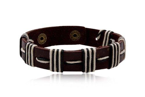 Fashion Brown & White Leather Wrap Cuff Rasta Bracelet Bangle Men's Jewelry