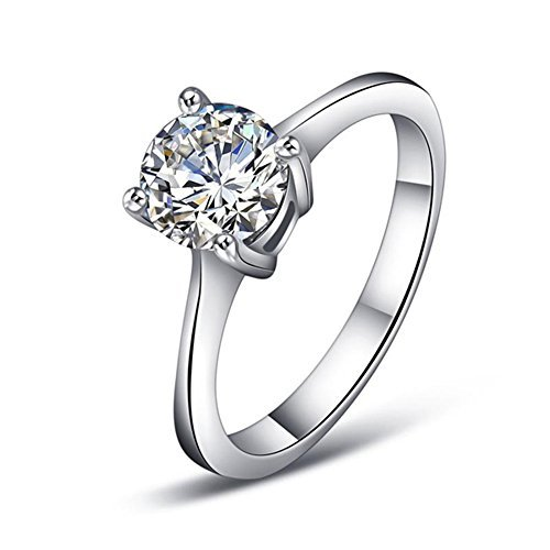Yoursfs 1ct Solitaire Cubic Zirconia CZ Simulated Diamond Wedding Engagemant Ring Four Prongs(8)