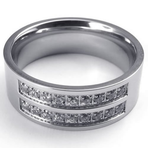 KONOV 8mm Polished Stainless Steel CZ Engagement Wedding Band Men's Ring , Silver - Size 9