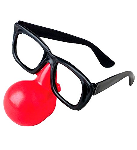 Clown Nose With Glasses - Clown's Essential Glasses With Clown's Nose