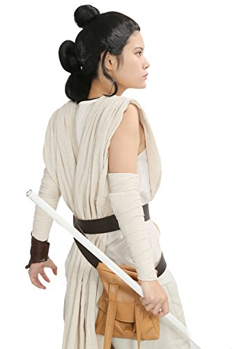 Rey Costume & Wig Cosplay Deluxe Outfit Bag Belt Star Shirt Wars Force Awakens Adult