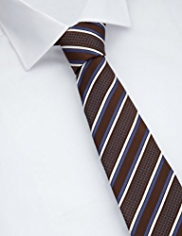 Collezione Made in Italy Pure Silk Textured Bold Striped Tie